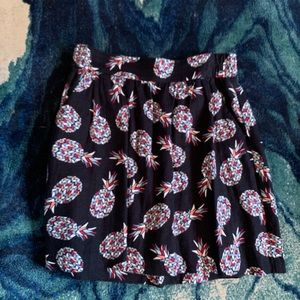 LOFT black a-line skirt with pineapples
